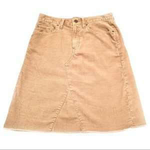 GAP 1969 Tan Corduroy Distressed A-line Skirt 26